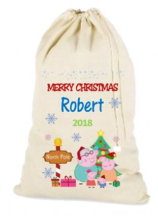 Peppa Pig Christmas Santa Gift Sack (blue name & snoflakes version)